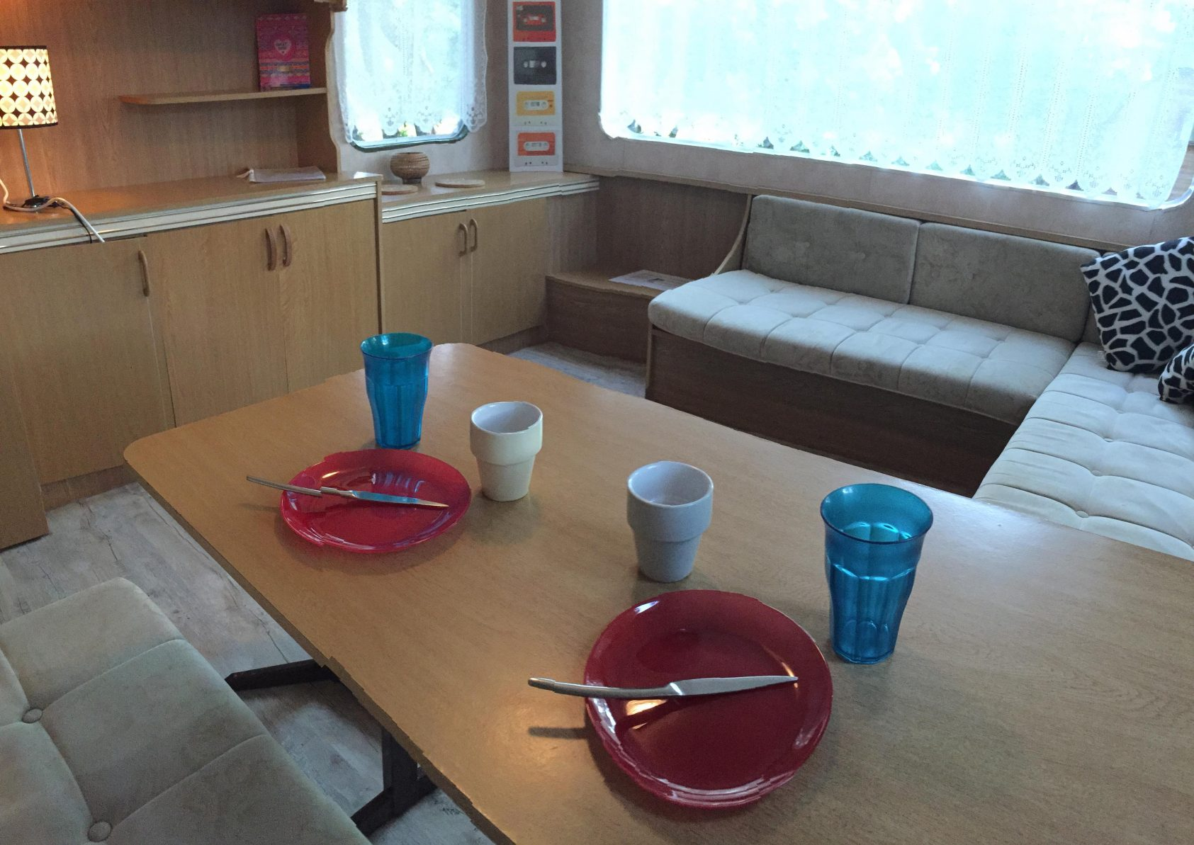 dining room red mobil home