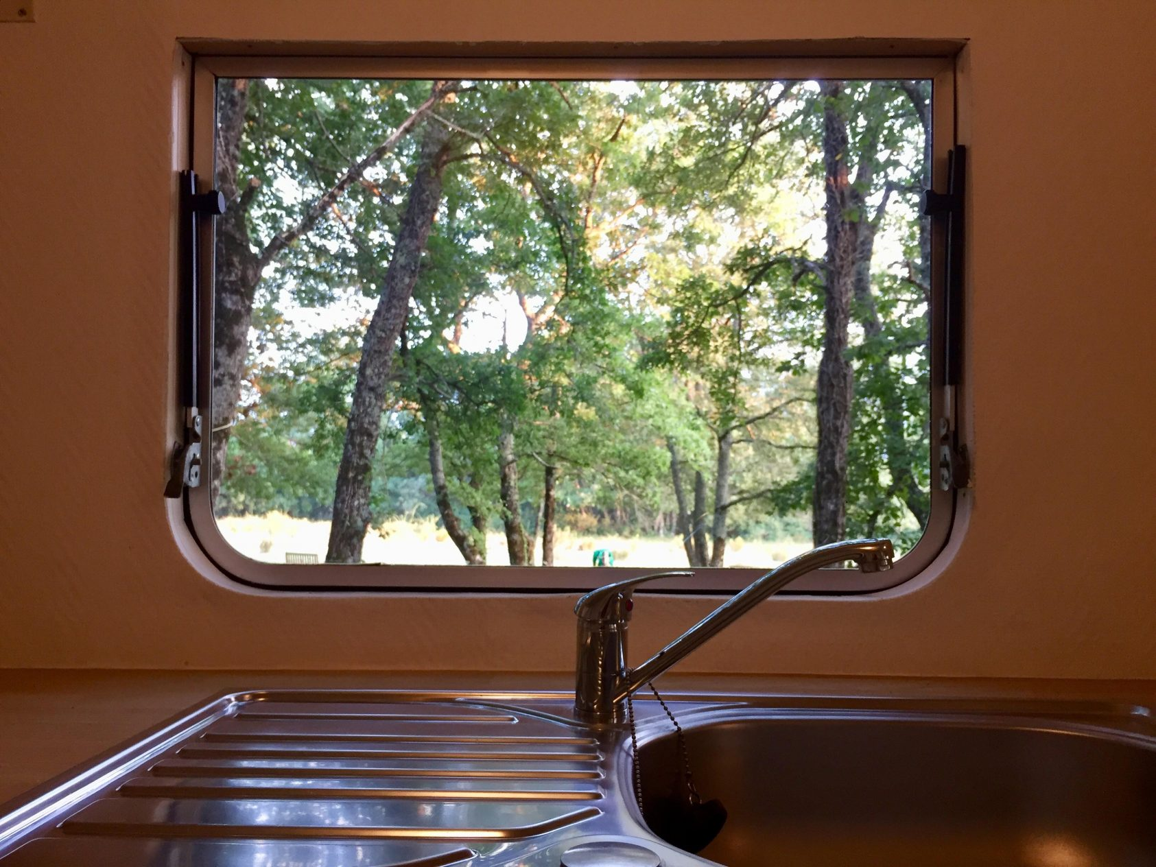 kitchen view red mobil home
